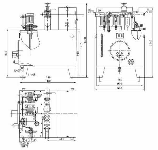 途径单向阀,过滤器和三位四通电磁阀后向双线系统管线供送.图片
